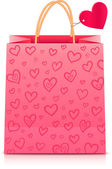 Valentines day rore paper shopping bag — Stock Vector