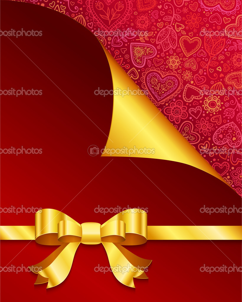 Vector Valentine's day greeting card with hearts and golden bow — Stock Photo #18727623