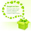 Text bubble from foliage with green box of leaves - Stock Photo
