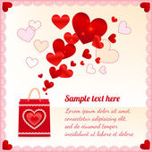 Red paper shopping bag with flying hearts — Stock Vector