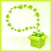 Text bubbla från bladverk med gröna blad — Stockvektor