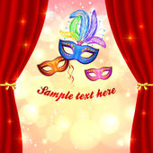 Carnival poster template with masks and curtain — Stock Vector