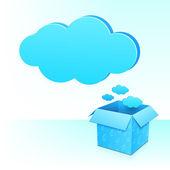 Grote blauwe wolk van doos met regenachtige patroon — Stockvector
