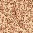Stock Vector: Beige vector flowers seamless pattern