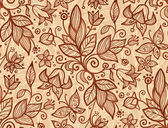 Beige vector flowers seamless pattern — Stock Vector