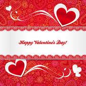 Cartão de dia dos namorados com corações — Vetor de Stock