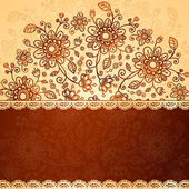 Ornate vector doodle flowers background — Stock Photo
