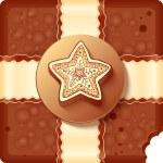 Christmas chocolate box with badge and ribbon — Stock Photo #19099857