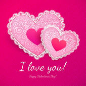 Valentine's day lacy hearts greeting card — Stock Vector