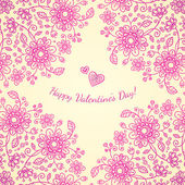 Pint valentines day doodle flowers background — Vector de stock