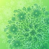 Green doodle flowers vector background — Stock Vector