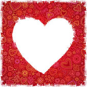 White painted heart on red ornate background — Vecteur