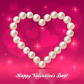 Valentines day pearls vector heart — Stock Vector