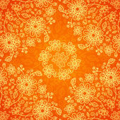 Orange doodle flowers ornate seamless pattern — Stock Vector