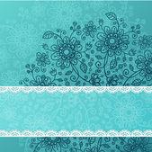 Deep blue vector doodle flowers background — Stock Photo