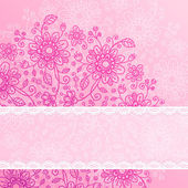 Vintage pink flowers background with lacy ribbon — Stock Photo