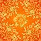 Orange doodle Blumen nahtlose Muster — Stockvektor