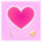 Red textile heart with lace, needle and button — ストックベクタ