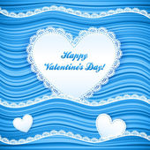 Vector blue wavy Valentine's Day background — Stock Vector