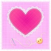 Coeur de textile rouge avec dentelle, aiguille et bouton — Vecteur