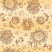 Ornate vector doodle flowers seamless pattern — Stock Photo