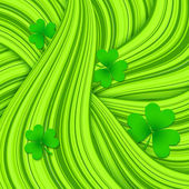 Green hair waves abstract background with clovers — ストックベクタ