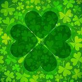 Green clover shape on light clovers background — Stock Vector