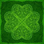 Ornate Saint Patrick's Day background with clover — Stock Vector