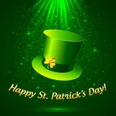Green Patrick's leprechaun hat with golden clover — Vecteur