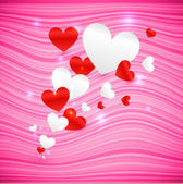 Vector pink wavy Valentine's Day background — Stock Vector
