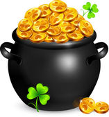 Black pot of leprechauns gold with clovers — Stock Vector