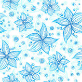 Bright blue ornate flowers vector seamless pattern — Stock Vector