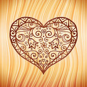 Brown ornate vector heart on wooden background — Stock Vector