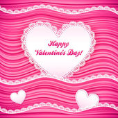 Vector pink wavy Valentine's Day background — Vecteur