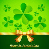 Green paper clovers background for Patrick's Day — Wektor stockowy