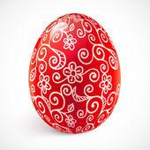 Czerwony kwiecisty wektor wielkanoc jajko — Wektor stockowy