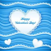 Vector blue wavy Valentine's Day background — Stock Vector