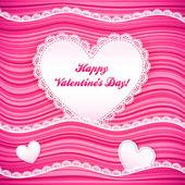 Vector pink wavy Valentine's Day background — Stock Vector