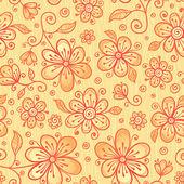 Zdobené vektor doodle květin pozadí — Stock vektor