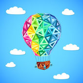 Rainbow colors abstract triangles flying balloon — Stock Vector