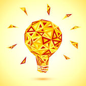 Abstract orange triangles light bulb — Stock Vector