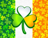 Irish flag from green and orange clovers — Stock Photo