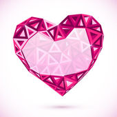 Pink abstract valentines day heart with triangles — Stock Vector