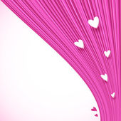 Abstract pink lines background with little hearts — Stock Vector