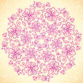Pink doodle vintage flowers circle background — Stock Vector