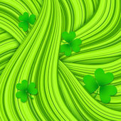 Green hair waves abstract background with clovers — Stock Vector