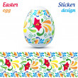 Traditional ornate easter eggs sticker - Stok Vektör
