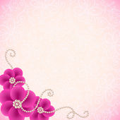 Romantic lacy background with flowers and pearls — Stock Photo