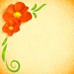 Orange realistic flowers ornate greeting card — Stock Photo #23588231