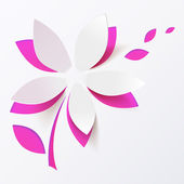 Pink paper flower vector greeting card template — Stock vektor